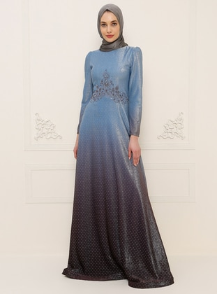 Baby Blue - Fully Lined - Crew neck - Cotton - Modest Evening Dress