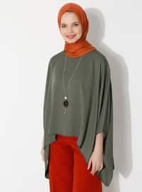 Khaki - Crew neck - Unlined - Poncho