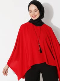 Red - Crew neck - Unlined - Poncho