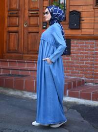 Mavi - Yuvarlak yakalı - Astarsız - Elbise