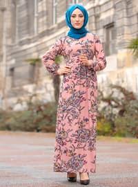 Pudra - Yuvarlak yakalı - Astarsız kumaş - - Elbise