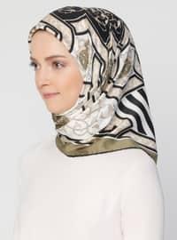 Khaki - Black - Striped - Printed - Scarf