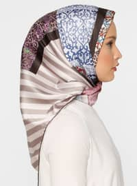 Beige - Saxe - Printed - Twill - Scarf