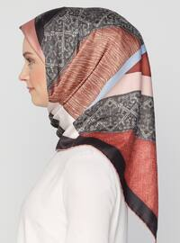 Terra Cotta - Black - Printed - Twill - Scarf