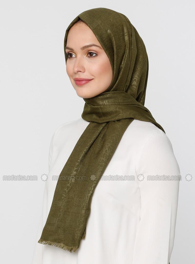 Khaki - Printed - Plain - Shawl