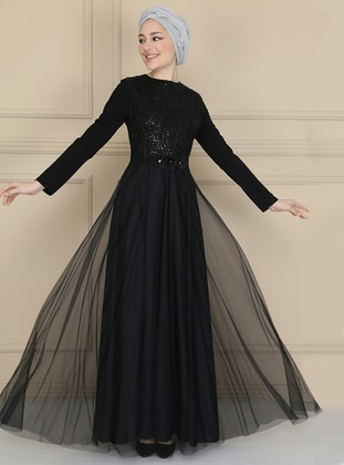 Black - Floral - Fully Lined - Crew neck - Muslim Evening Dress