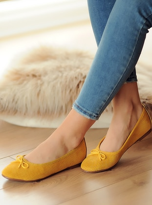 Flat - Casual - Mustard - Casual Shoes