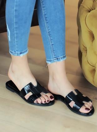 Black - Sandal - Sandal - Pembe Potin