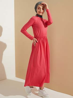 Coral - Crew neck - Unlined -  - Dress