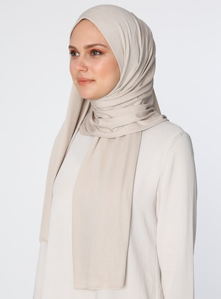 Cream - Plain - Combed Cotton - Viscose - Shawl
