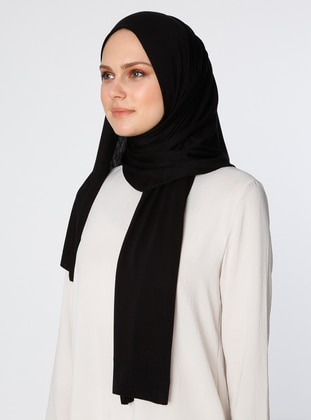 Black - Plain - Combed Cotton - Viscose - Shawl