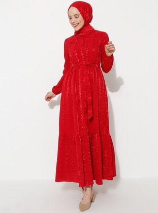 Red - Point Collar - Dress