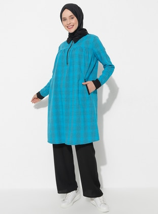 Blue - Plaid - Point Collar - Tunic