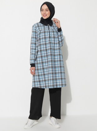 Black - Turquoise - Plaid - Point Collar - Tunic