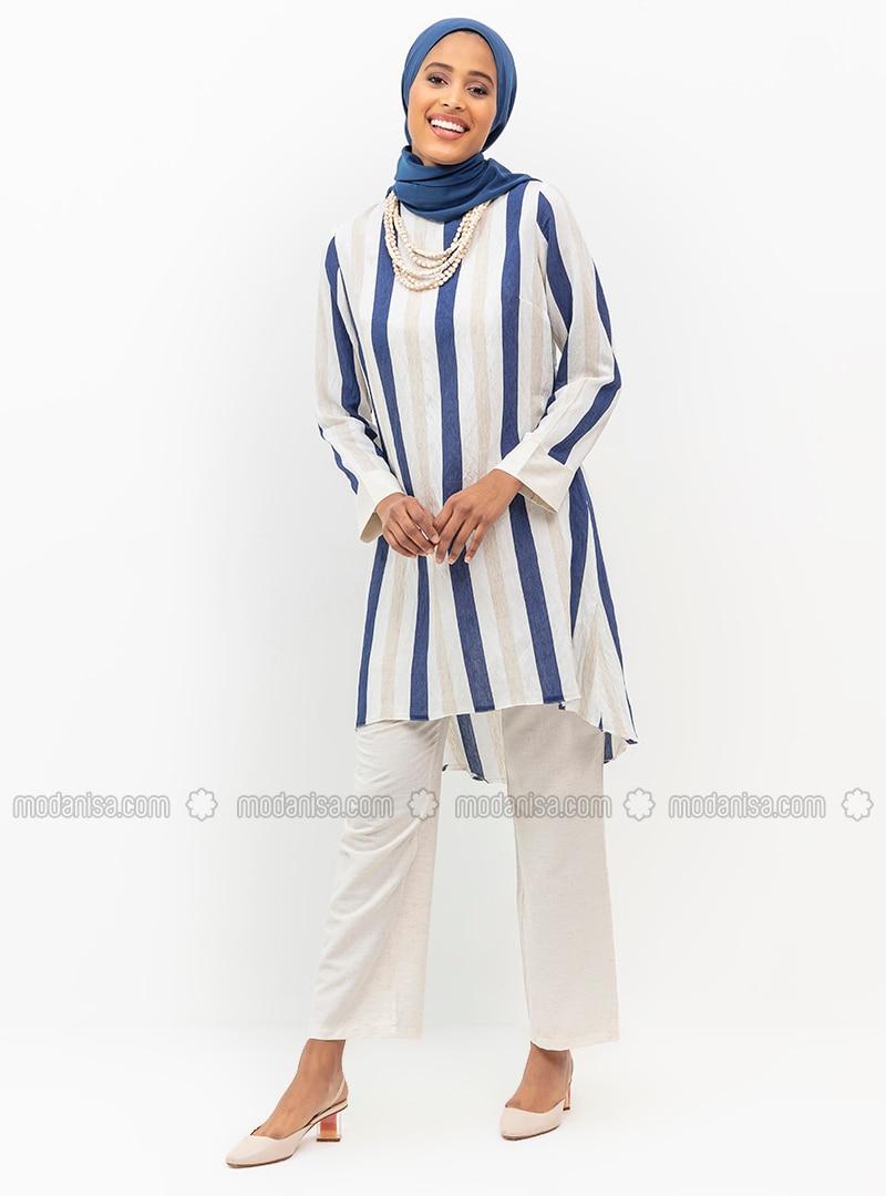 Unlined - Blue - Stripe - Nylon - Viscose - Evening Suit