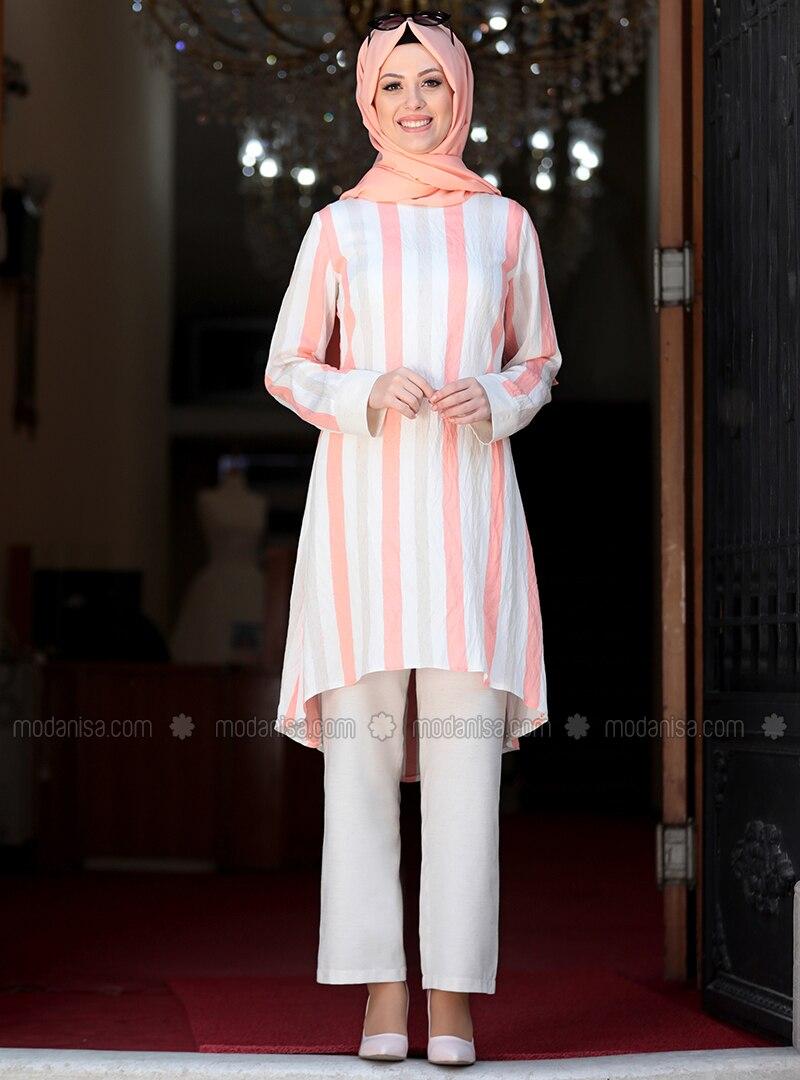 Unlined - Salmon - Stripe - Nylon - Viscose - Evening Suit