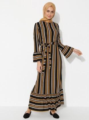 Mustard - Multi - Multi - Crew neck - Unlined -  - Dress