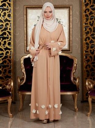 Mustard - Unlined - V neck Collar - Abaya