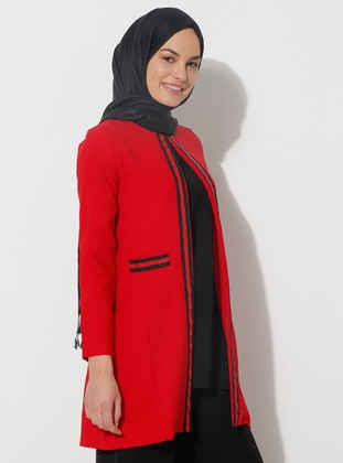 Red - Stripe - Fully Lined - Shawl Collar - Jacket
