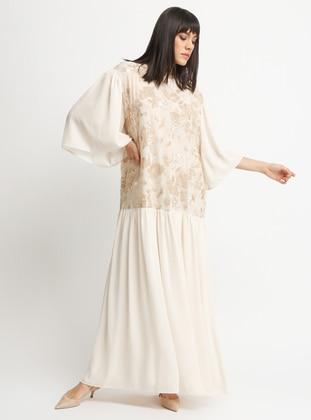 Ecru - Crew neck - Dress