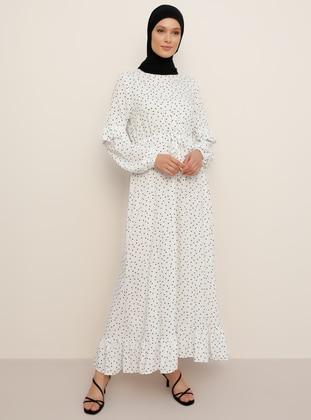 White - Black - Polka Dot - Crew neck - Unlined - Viscose - Dress