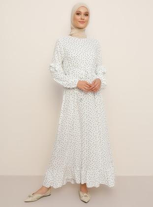 White - Green - Polka Dot - Crew neck - Unlined - Viscose - Dress