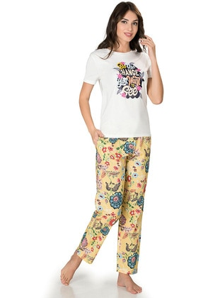 Ecru - Crew neck - Multi -  - Viscose - Pyjama Set