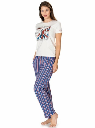 Ecru - Crew neck - Stripe -  - Pyjama Set