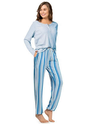 Blue - Crew neck - Stripe -  - Viscose - Pyjama Set