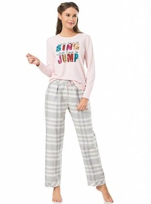 Pink - Checkered - Viscose - Pyjama Set