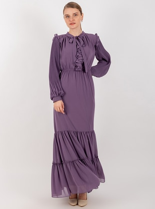 Lilac - Crew neck - Fully Lined - Dress