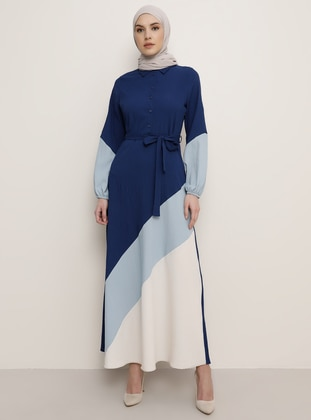 Beige - Indigo - Blue - Crew neck - Dress
