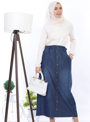 Blue - Unlined - Denim - Cotton - Skirt