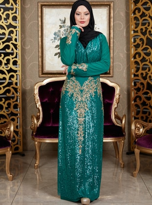 Green - Unlined - Crew neck - Muslim Evening Dress