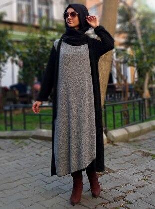 Gray - Black - Unlined - Crew neck - Wool Blend - Abaya