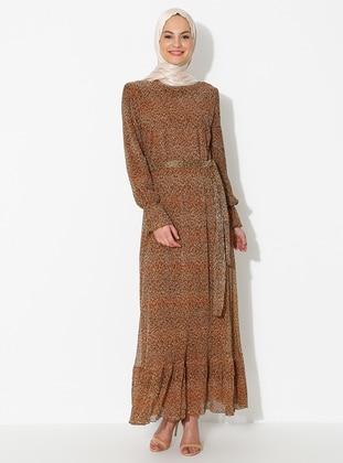 Mustard - Leopard - Crew neck - Fully Lined - Dress