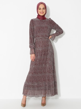 Plum - Leopard - Crew neck - Fully Lined - Dress