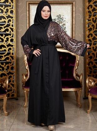 Black - Leopard - Unlined - V neck Collar - Abaya
