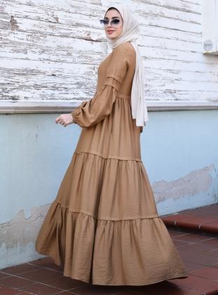 Camel - Crew neck - Unlined - Viscose - Dress