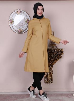 Yellow - Unlined - Crew neck - Acrylic -  - Topcoat
