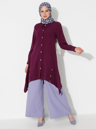 Purple - Point Collar -  - Tunic