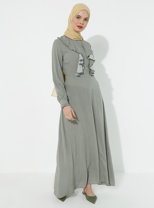Khaki - Multi - Polo neck - Dress