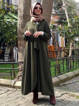 Khaki - Unlined - Crew neck - Wool Blend - Abaya
