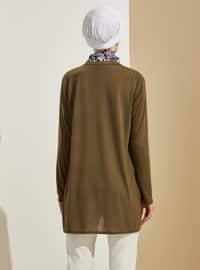Khaki - Crew neck -  - Tunic