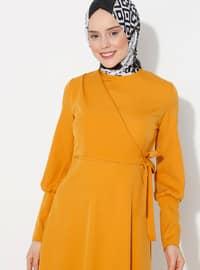 Sarı - Yuvarlak yakalı - Astarsız - - Elbise