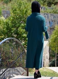 Zümrüt yeşili - Astarsız kumaş - Yuvarlak yakalı - - Ferace