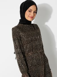 Black - Leopard - Crew neck - Fully Lined - Dress