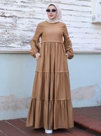 Earth - Yuvarlak yakalı - Astarsız kumaş - Viskon - Elbise