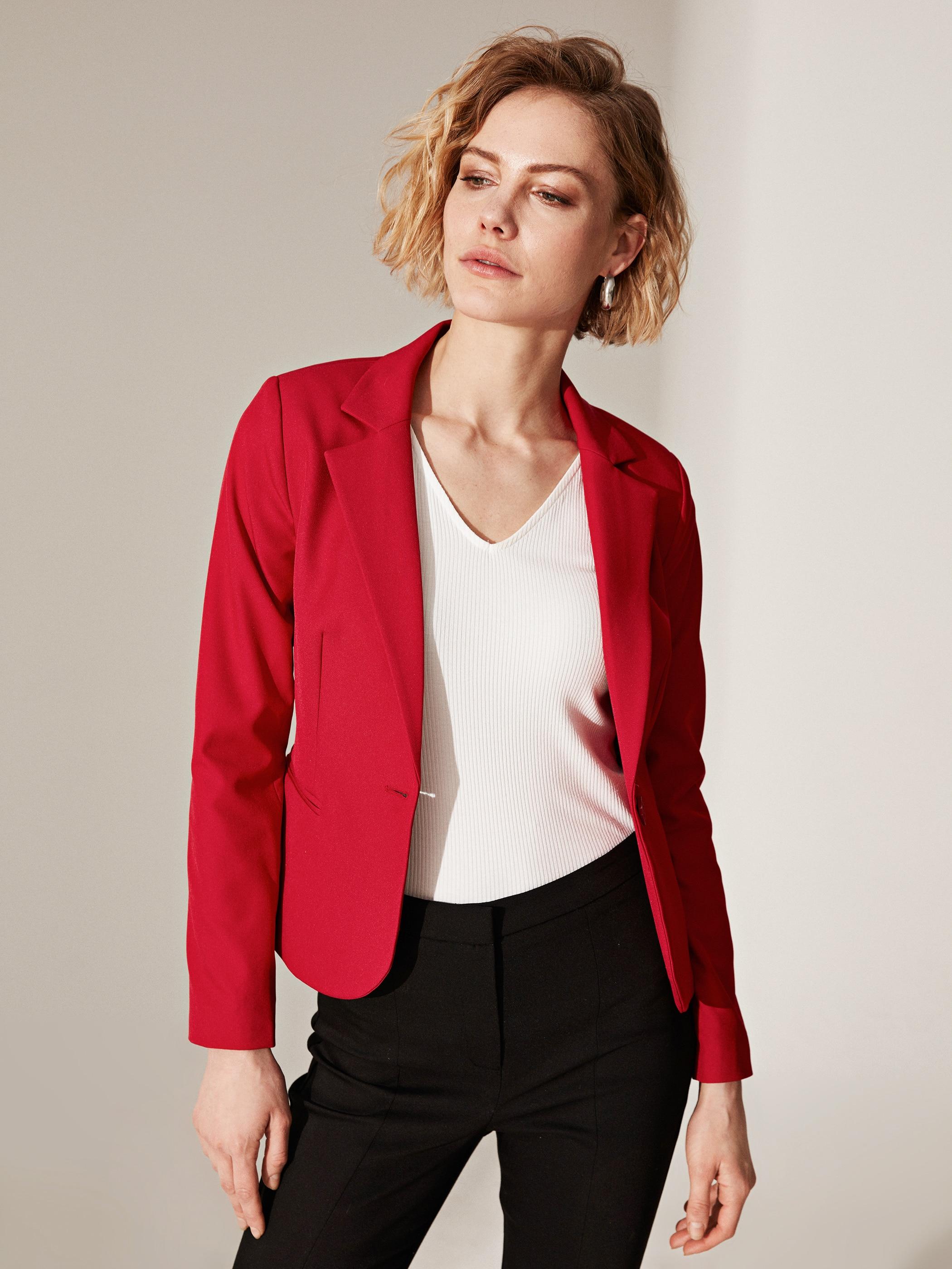Tesettür Ceket LC WAIKIKI Kırmızı Kadın 44