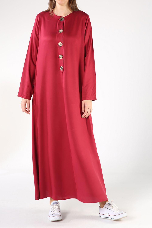 Tesettür Büyük Beden Elbiseler Allday Bordo Kadın 38